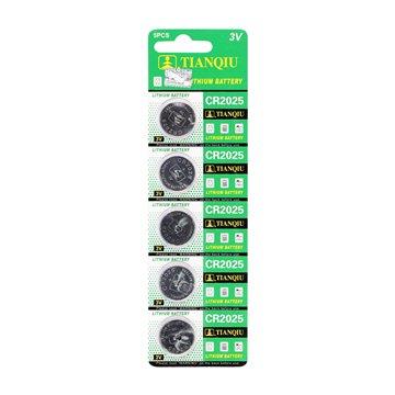 باتری سکه ای تیان کیو مدل CR2025 بسته 5 عددی - 1