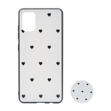 کاور پیونی مدل سامسونگ گلکسی A51 طرح Tiny hearts همراه با پاپ سوکت