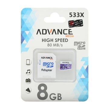 کارت حافظه Micro SDHC ادونس مدیا 533x استاندارد UHS-I U1 ظرفیت 8 گیگابایت با آداپتور