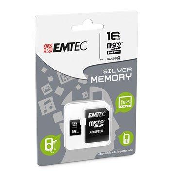 کارت حافظه Micro SDHC امتک مدل Silver ظرفیت 16 گیگابایت کلاس 4 با آداپتور
