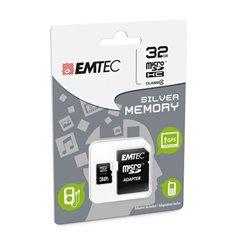 کارت حافظه Micro SDHC امتک مدل Silver ظرفیت 32 گیگابایت کلاس 4 با آداپتور - 1