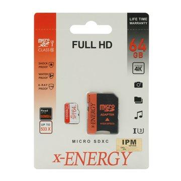 کارت حافظه Micro SDXC ایکس انرژی استاندارد UHS-I U3 ظرفیت 64 گیگابایت کلاس 10 با آداپتور - 1